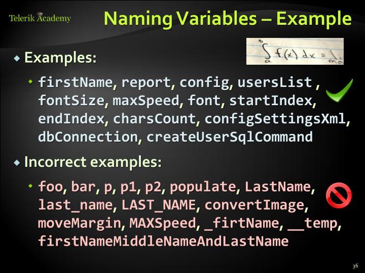 Naming Variables – Example