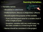 naming variables