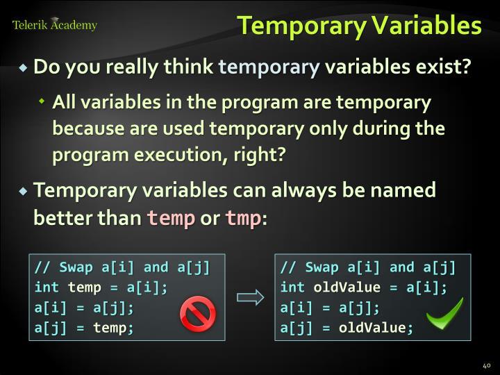 Temporary Variables