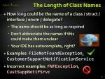 the length of class names