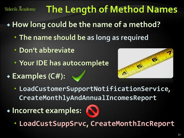 The Length of Method Names