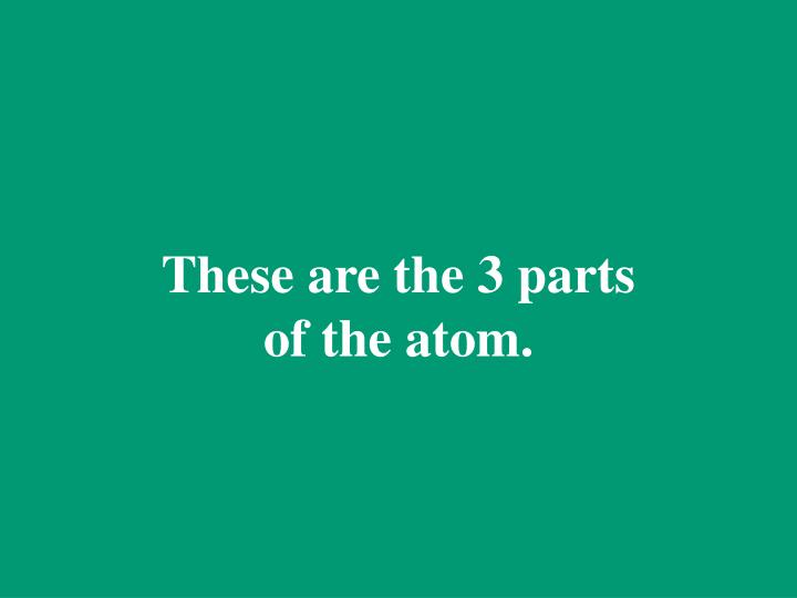 These are the 3 parts of the atom.