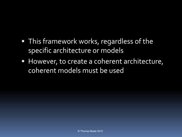 This framework works, regardless of the specific architecture or models