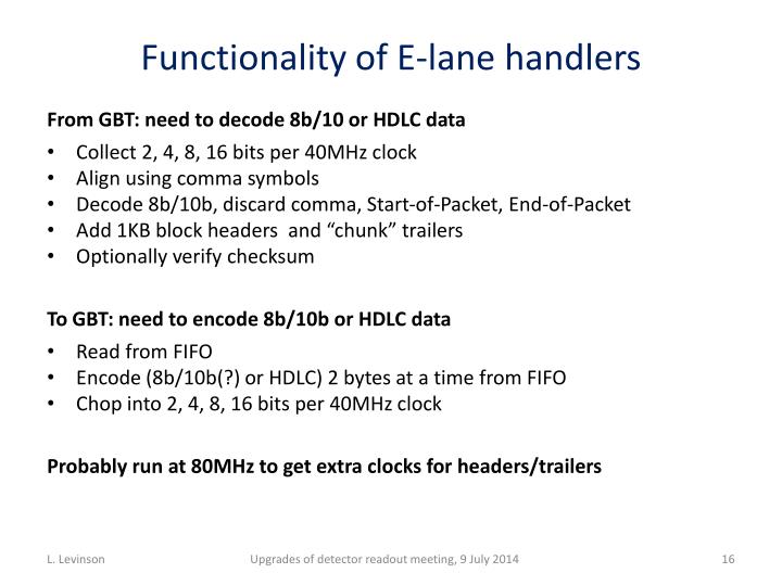 Functionality of E-lane handlers
