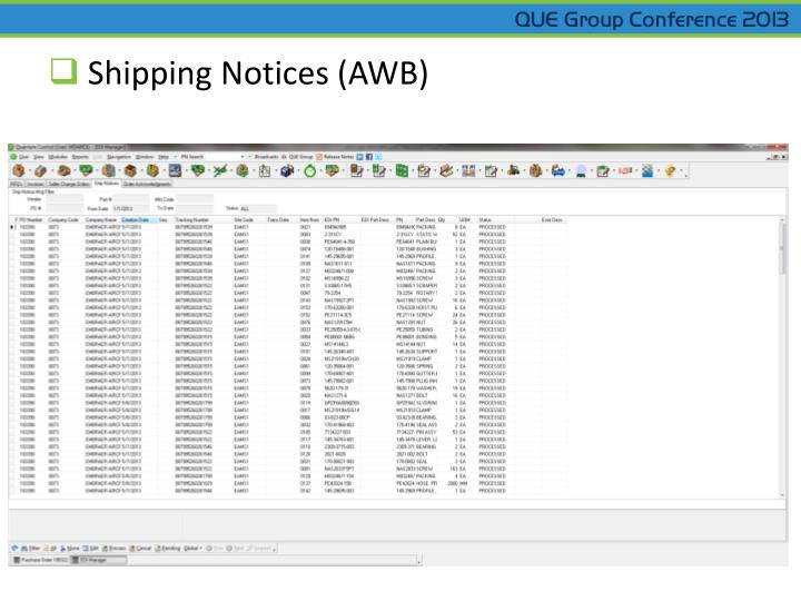Shipping Notices (AWB)