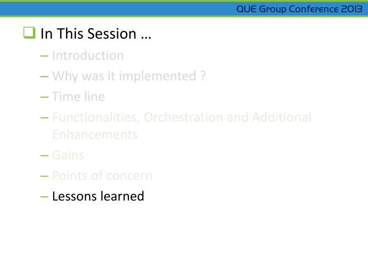 In This Session …