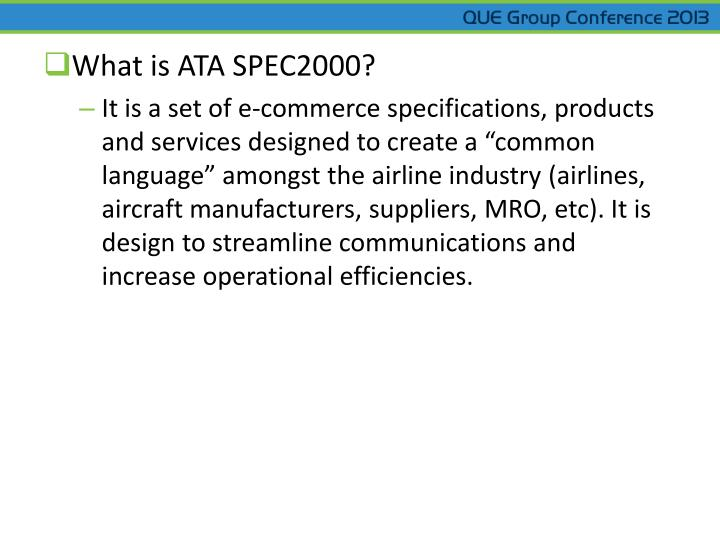 What is ATA SPEC2000?
