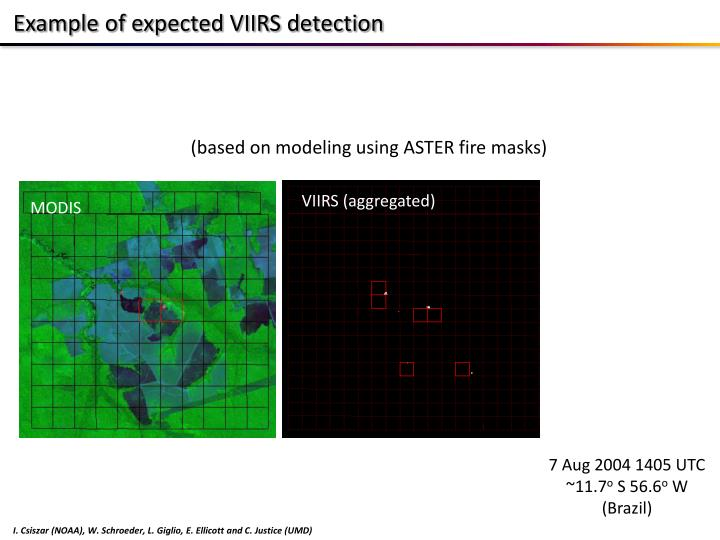 Example of expected VIIRS detection