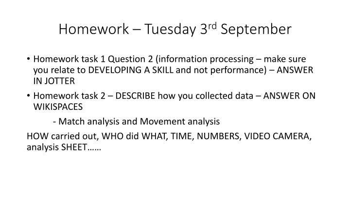 Homework – Tuesday