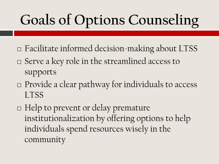 Goals of Options Counseling