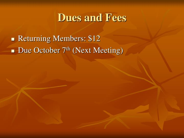 Dues and Fees