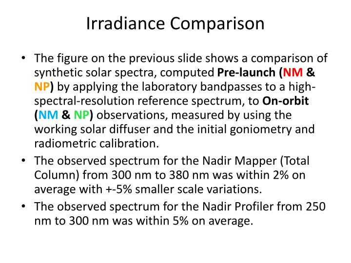 Irradiance Comparison