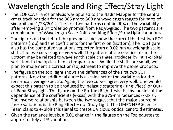 Wavelength Scale and Ring Effect/Stray Light