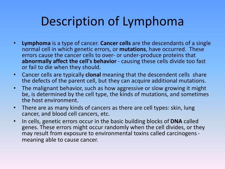 Description of Lymphoma