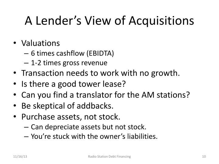 A Lender's View of Acquisitions