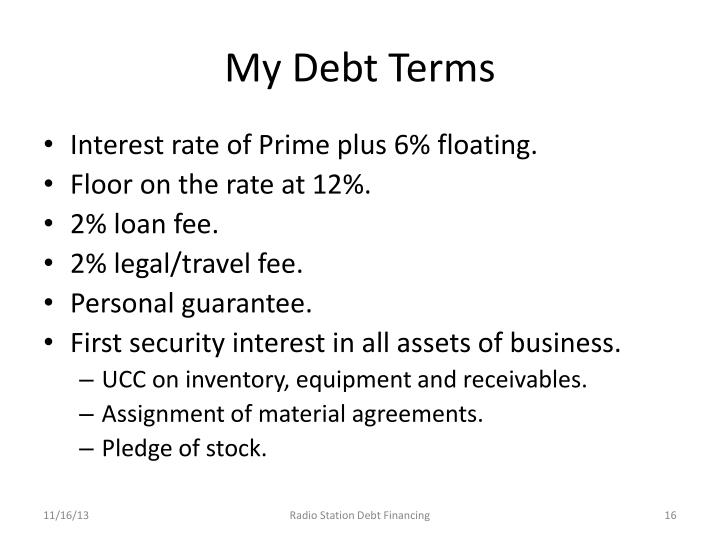 My Debt Terms