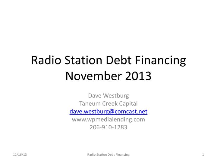 Radio Station Debt Financing