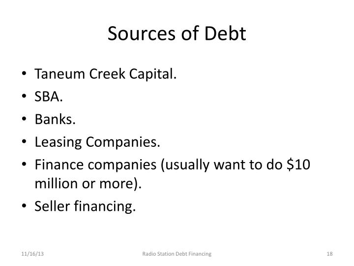 Sources of Debt