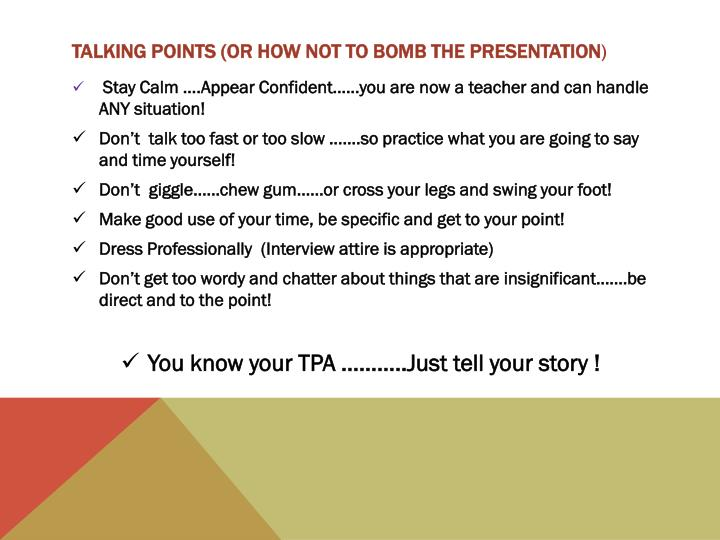 Talking points or how not to bomb the presentation