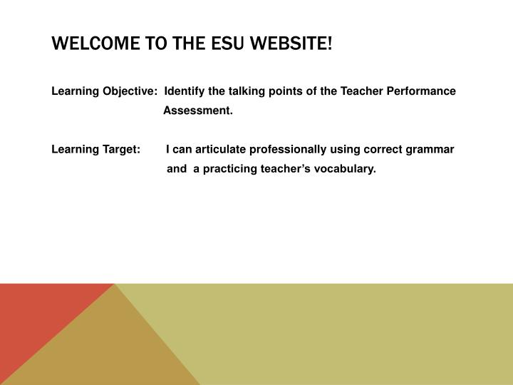 Welcome to the esu website