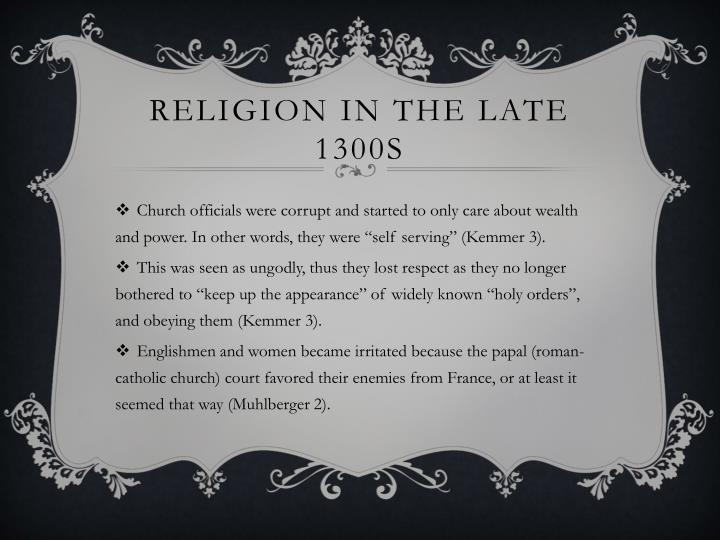 Religion in the late 1300s