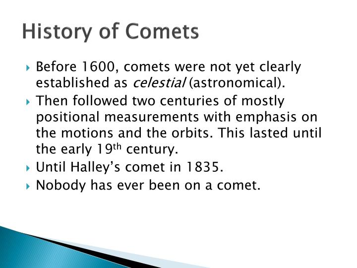 History of Comets