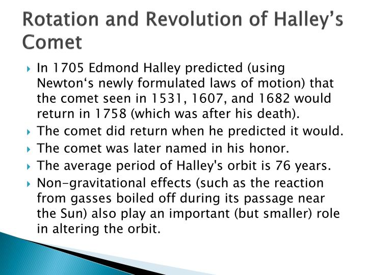 Rotation and Revolution of Halley's         Comet