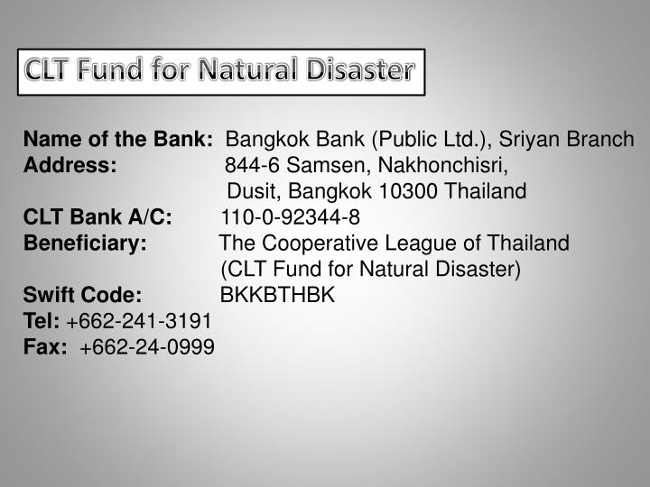 CLT Fund for Natural Disaster