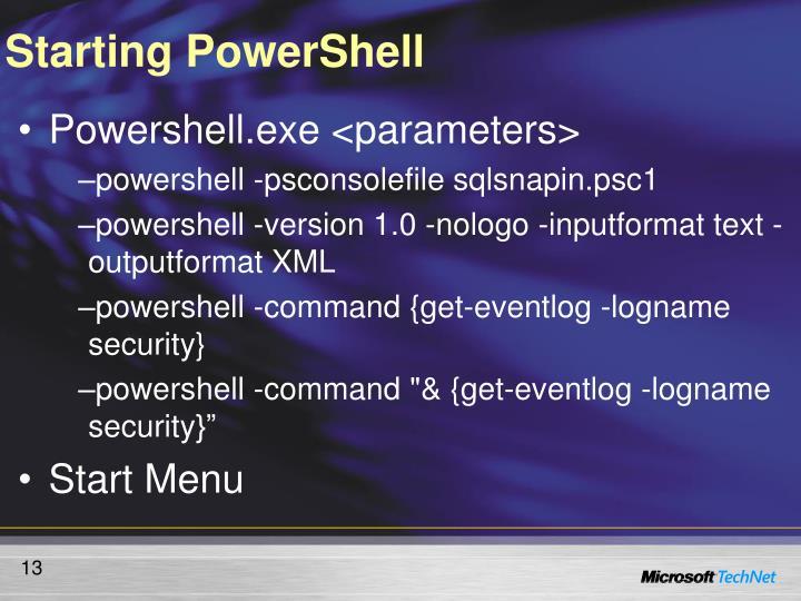 Starting PowerShell