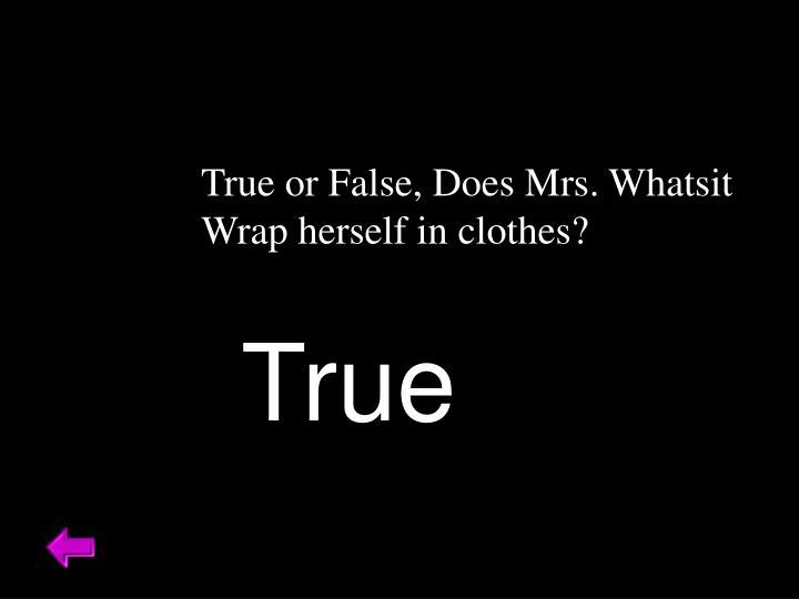 True or False, Does Mrs. Whatsit