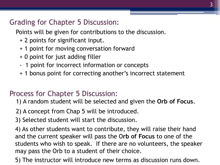 Grading for Chapter 5 Discussion:
