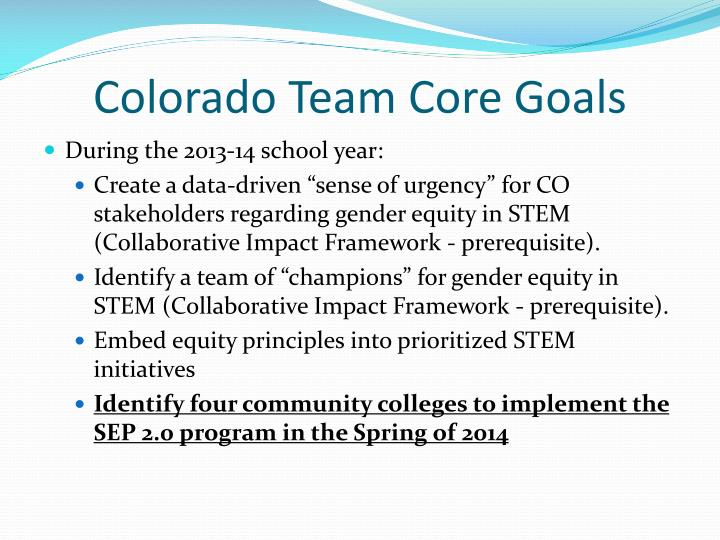 Colorado Team Core Goals