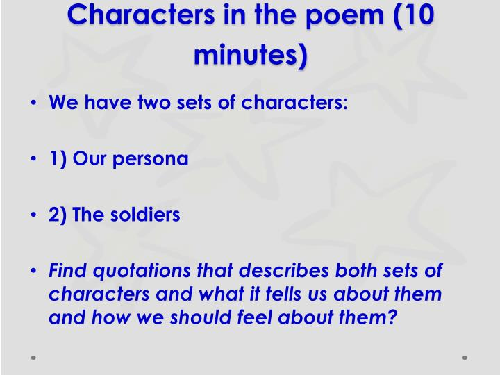 Characters in the poem (10 minutes)
