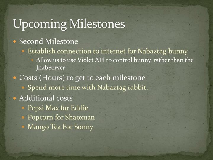 Upcoming Milestones
