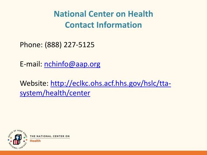 National Center on Health
