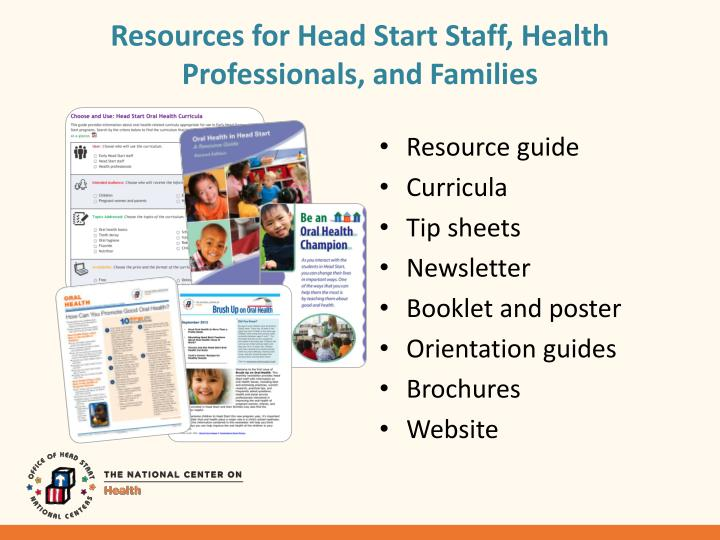 Resources for Head Start Staff, Health Professionals, and Families
