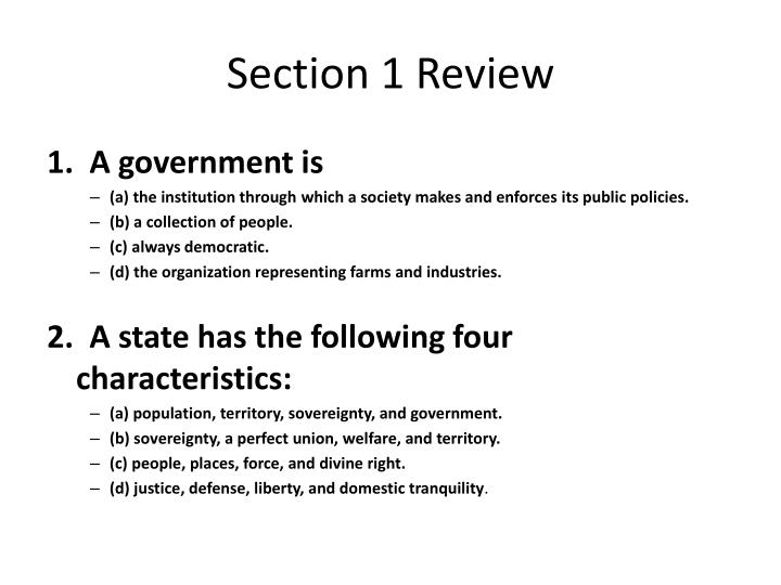 Section 1 Review