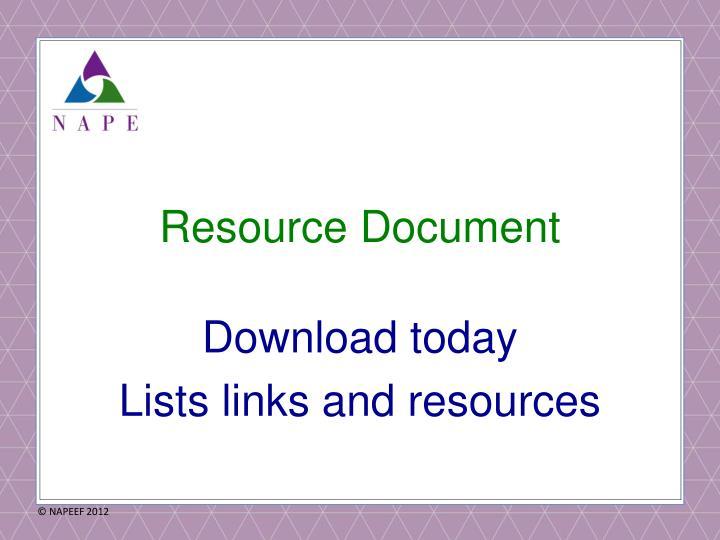 Resource Document
