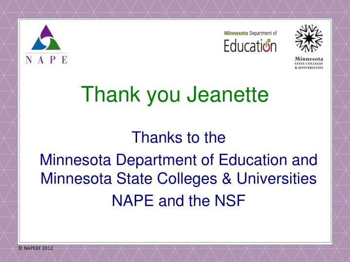 Thank you Jeanette