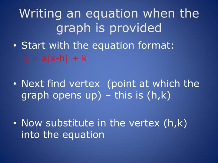 Writing an equation when the graph is provided