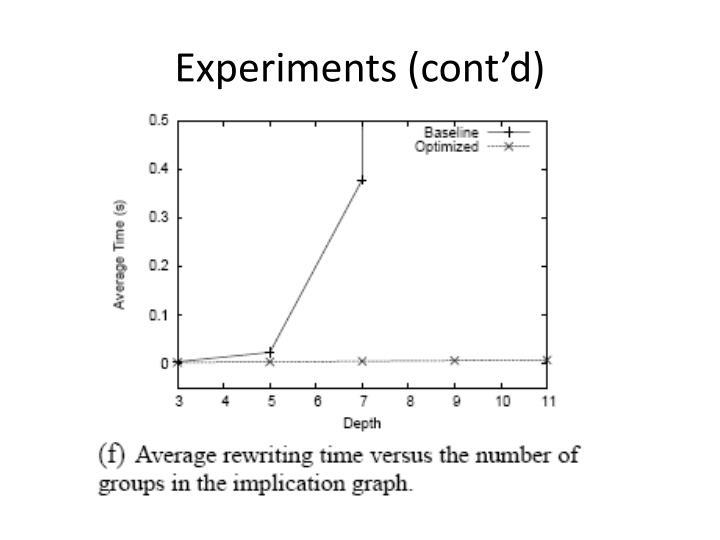 Experiments (cont'd)