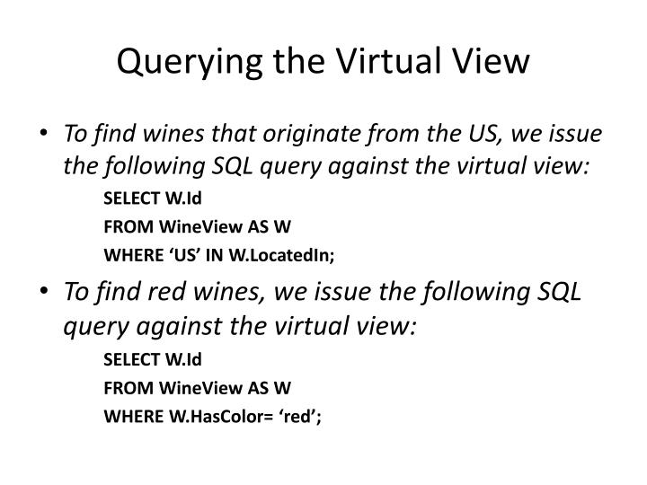 Querying the Virtual View