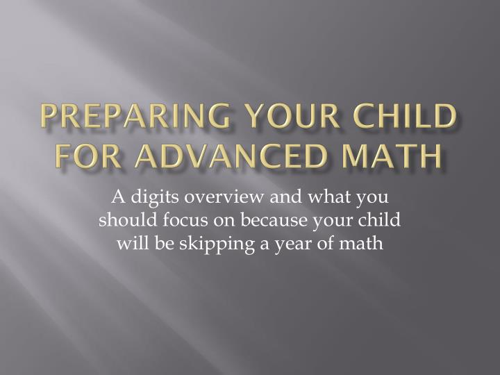 preparing your child for advanced math