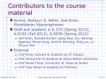 contributors to the course material