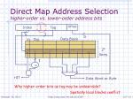 direct map address selection higher order vs lower order address bits