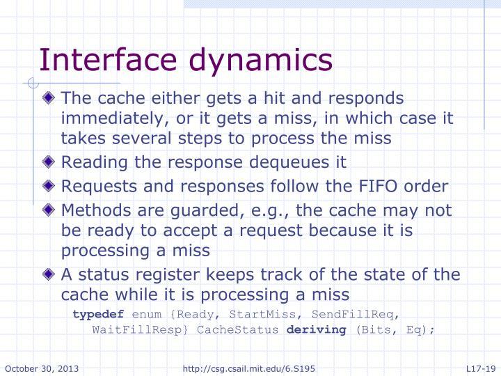 Interface dynamics
