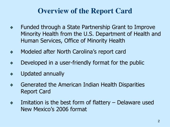 Overview of the Report Card
