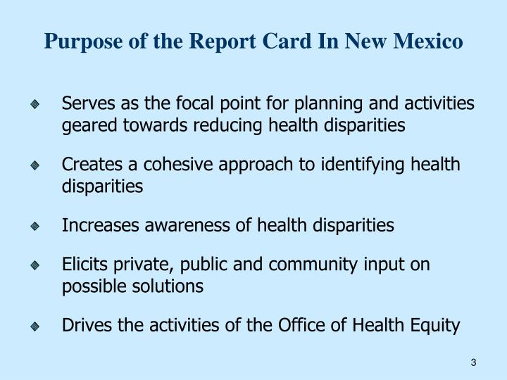 Purpose of the Report Card In New Mexico