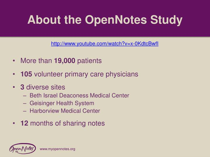 About the OpenNotes Study