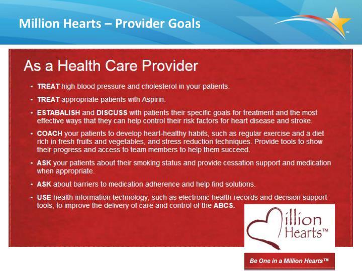 Million Hearts – Provider Goals